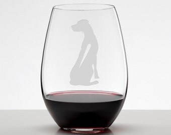 Rhodesian Ridgeback Wine Glass, Dog Lover Gift, Etched Stemless Wineglass