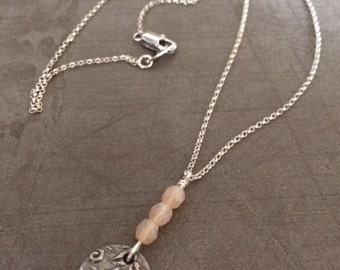 Vining Charm necklace,charm,silver,Swarovski crystals,sterling rolo,chain,lobster clasp,girlfriend