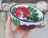 White ceramic bowl with flowers, handpainted, folk style, Bohemian, boho, folk, romantic, poetic, rustic rural country rustic