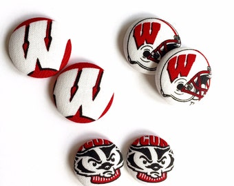 University of Wisconsin Fabric Covered Button Earring