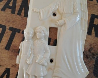 Vintage Guardian Angel with Children Light Switch Plate Cover
