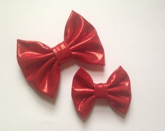 Metallic Red handmade fabric bow
