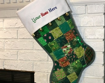 Quilted Christmas Stocking, Green Patchwork, Flannel Cuff and Jingle Bells, Large, Fully Lined, Free Personalization