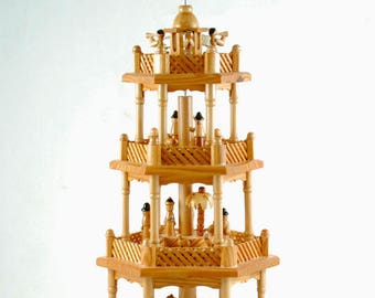 Vintage German Christmas Nativity Pyramid Carrousel - 4 Tier