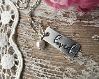Loved necklace -  give love - valentine's day gift - Galentines - metal stamped - Love Squared Designs