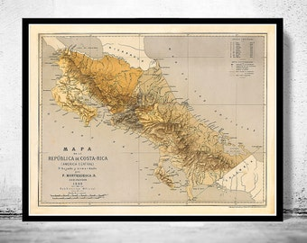 Old Map of Costa Rica 1889 - fine reproduction