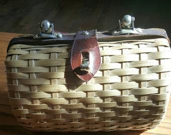Straw Barrel Purse Vintage