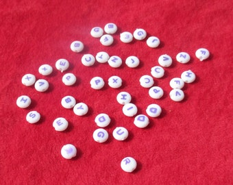 Lot Of Alphabet White Purple Plastic Beads