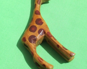 Giraffe Carved Wooden Pendant