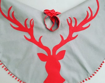 Stag head Christmas Tree skirt