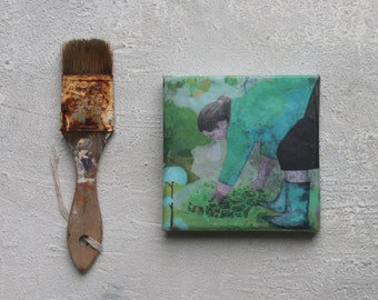 Encaustic, green, Abstract painting, unlimited craftworks, gardener, Beeswax, mixed media, 4x4, textured painting, abstract art,  acrylic