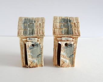 Outhouse Figurine Ceramic His & Hers Set of 2 Vintage Japan