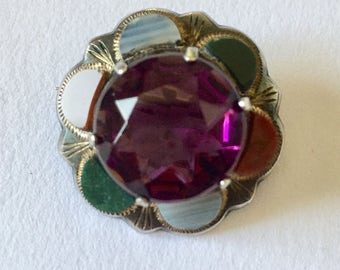 Antique Scottish Sterling Agate Amethyst Brooch Pin