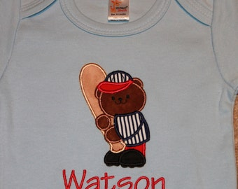 Personalized Applique Baby Onepiece Bodysuit - Baseball Bear
