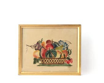 antique oil painting folk art theorem fruit basket on cloth framed gold frame beige red green blue pears grapes signed 9 38 x 11 58