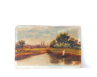 """Antique Oil Painting On Academy Board Small 5 7/8"""" x 9 1/4"""" Green Trees Sailboat Water Unframed Gallery Wall Art"""