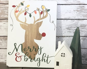 Merry & Bright Reindeer Christmas Wood Sign