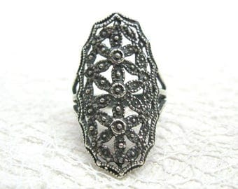 Russian Vintage rings for women girlfriends Gothic rings Victorian ring silver statement ring Russian filigree jewelry Large cocktail rings