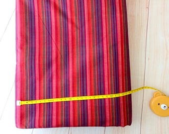 Pink Purple Striped woven cotton fabric shot cotton  DIY Craft Sewing Apparel small stripe Indian cotton fabric, half yard