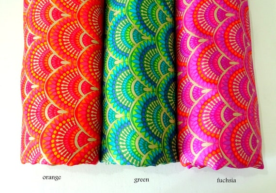 Indian Cotton fabric in bright colors fuchsia, green, orange, floral fabric, geometric flower print cotton, half yard