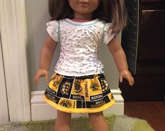 Yellow Bruins skirt fits American Girl Dolls