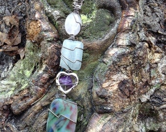 Love silver heart amethyst stone rose quartz blue shell crystal point handmade wire wrapped roach clip