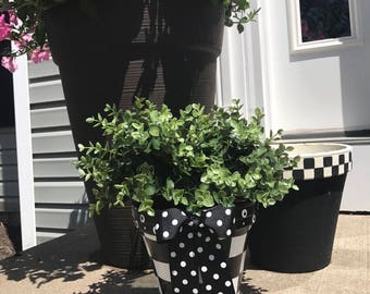 Black and White Checked Planter Pot - 8""
