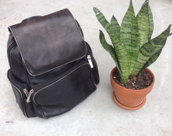 Wilson's Vintage Black Leather Backpack with Adjustable Straps