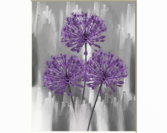 Purple Wall Pictures, Purple Flowers, Purple Gray Bathroom Bedroom Modern Wall Art Matted Picture