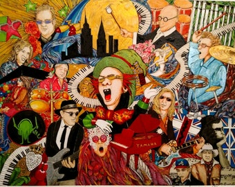 Elton John and Band collage Print.