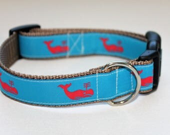 Preppy Turqoise and Coral Whale Dog Collar- Multiple Color Options- With Leash Option