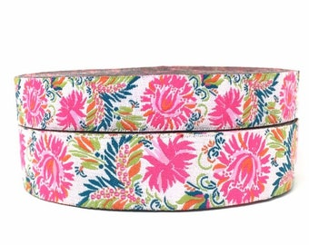"""5/8"""" or 7/8""""  Wide Floral Jacquard Ribbon- 2 sizes available"""