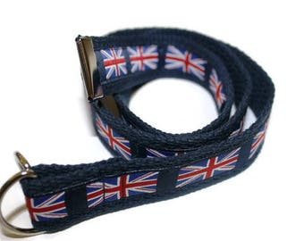 Union Jack Flag Belt- Adjustable D-Ring