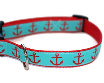 Turquoise and Red Anchor Dog Collar with Leash Option