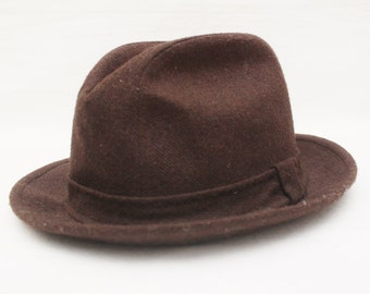 """Rare 80's Vintage """"STETSON"""" Brown Wool Fedora Sz: 7 and 1/8 (Men's Exclusive)"""