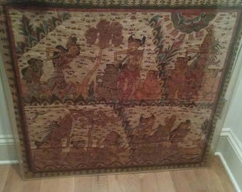 Balinese langse art cloth tapestry, mounted in plexiglass