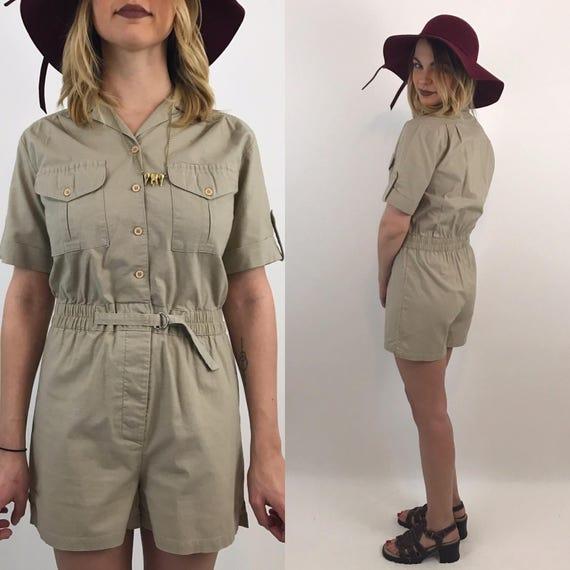 70's 80's Safari Vintage Tan Romper - Small Shorts Onesie Jumpsuit Beige Zookeeper Halloween Costume - Neutral Basic Classic Women's Jumper