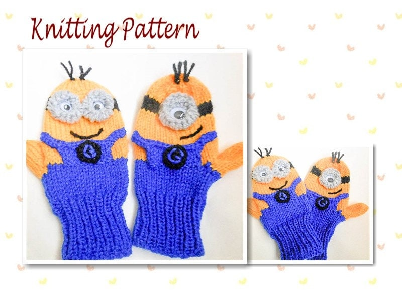 Free Knitting Pattern For Minion Gloves : Knitting Pattern Minion Mittens animal mittens character