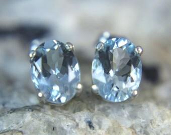 AQUAMARINE - Sea-blue ELITE Aquamarine .925 Sterling Silver Stud Earrings! Free Shipping!