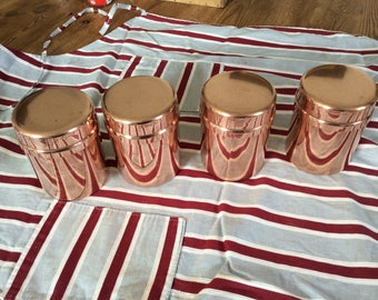 Vintage copper Four canisters containers Made in France