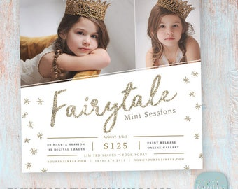 Mini Session Template - Gold Glitter Photography Photoshop Template - Fairytale - IY003 - INSTANT DOWNLOAD