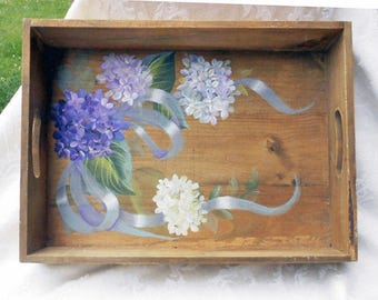 Rustic Farmhouse Chic ~ Wooden Tray ~ Handpainted Hydrangeas Tray ~ Cottage Chic ~ Birthday Gift ~ Farmhouse Chic ~ Wedding Gift