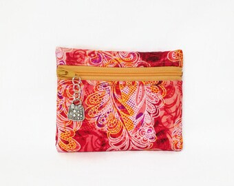 Paisley Print Small Coin Purse, Change Wallet, ID Holder, Zip Coin Pouch, Coral, Yellow, Orange Lacy Paisley Print Card Wallet, Change Purse