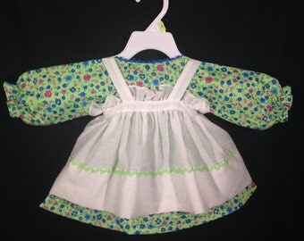 Dress and Apron for 25 inch Raggedy Ann Doll; Green Dress with flowers, Rick Rack trim on the Apron Bottom.