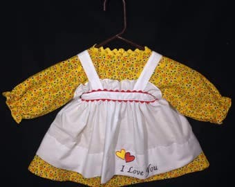 Dress and Apron for 30 INCH Raggedy Ann Doll,Yellow dress with Red Flowers and Blue Hearts, Embroidered Apron
