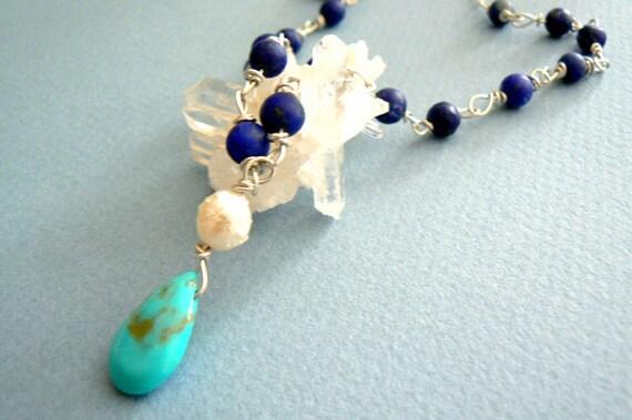 Turquoise lapis drop gemstone pendant- Sterling silver necklace- Boho blue stone pendant- Women turquoise lapis necklace- Pendant women gift