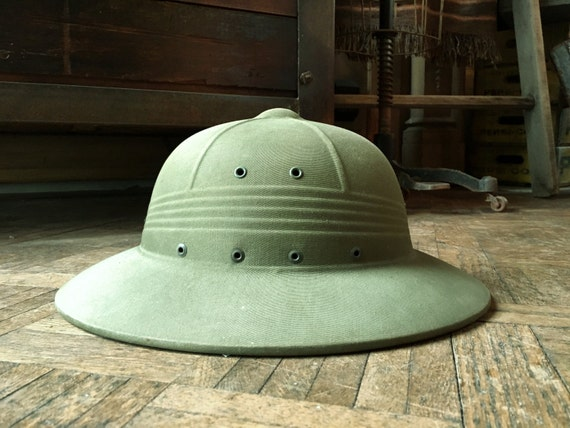 Vintage Pith Helmets, WWII USN United States Navy Pith Helmet, Military Green Safari Style Hat, Military Hat, Military Gifts