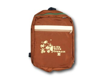 Vintage 90's Lands' End 'Kids With Courage III' Brown Nylon Youth Backpack - Never Used - Made in USA