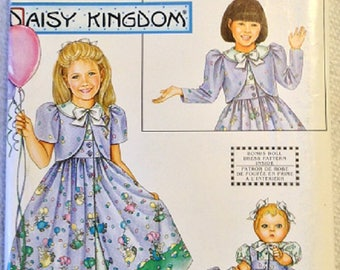 Vintage Simplicity Girl and 18 Inch Doll Clothes Pattern, 0637 Daisy Kingdom Dress, Pinafore and Bolero, OOP, UNCUT