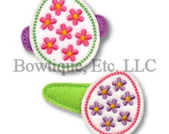 Easter Egg Flower Feltie/Hair Bow Center/24 turn around time/Embroidered/Embroidery/Easter